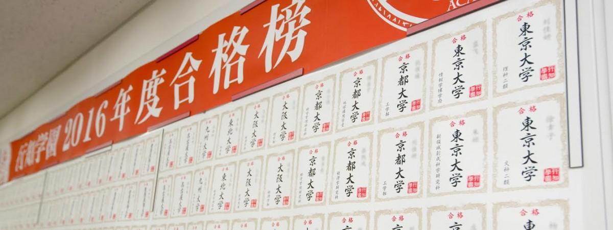 幫助中國學生晉身日本名校的預備學校「業績牆」。圖片來源:行知學園