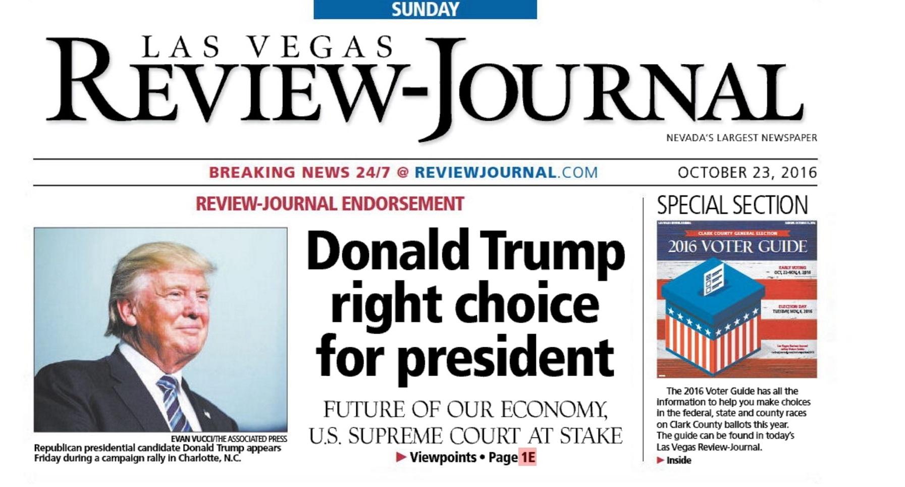 「拉斯維加斯評論報」成為首份表態支持杜林普的主流報章。