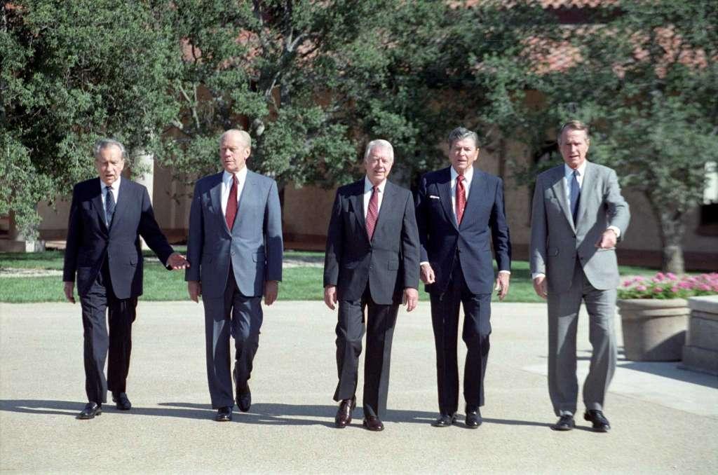 過來人:(左起)尼克遜、福特、卡特、列根、老布殊。 圖片來源:National Security Archive