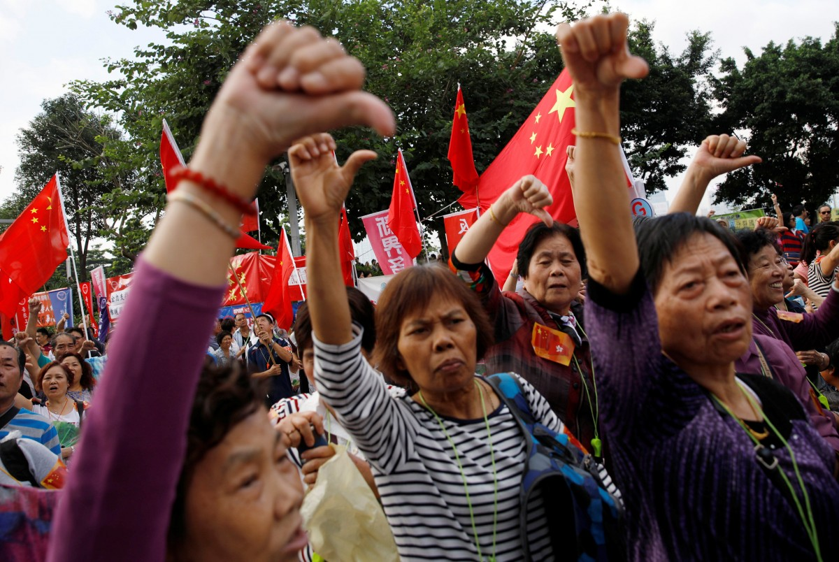 香港也有愛國大集會。 圖片來源:路透社