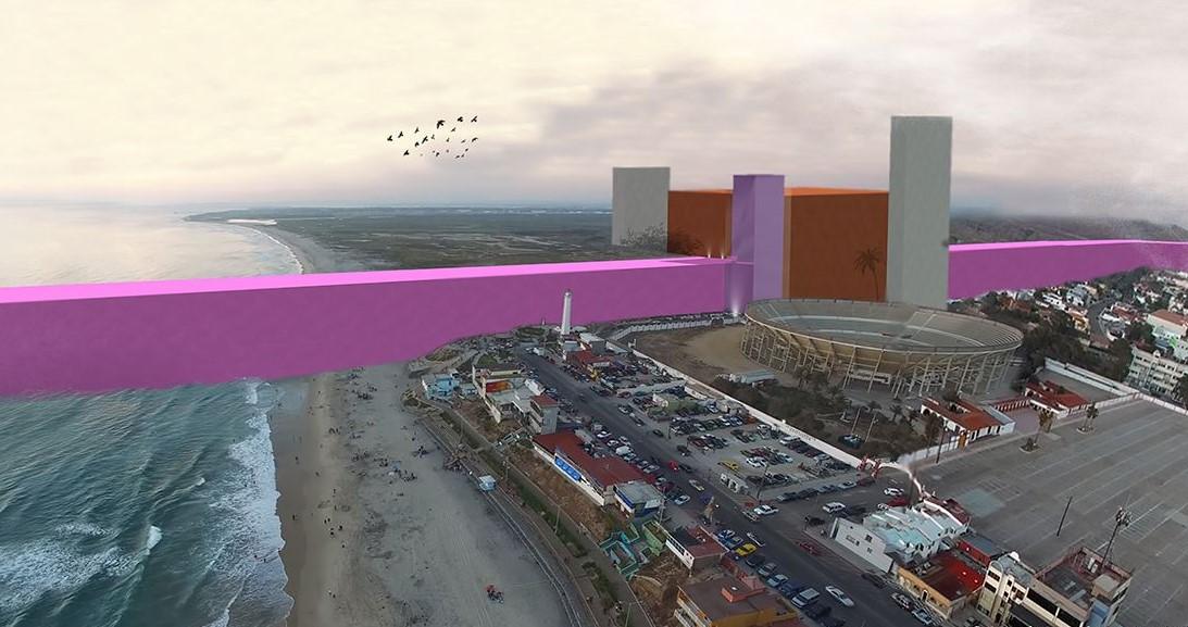 一批墨西哥建築師模擬出杜林普口中的「邊境巨牆」,認為實際上難以建成。圖片來源:Estudio 3.14