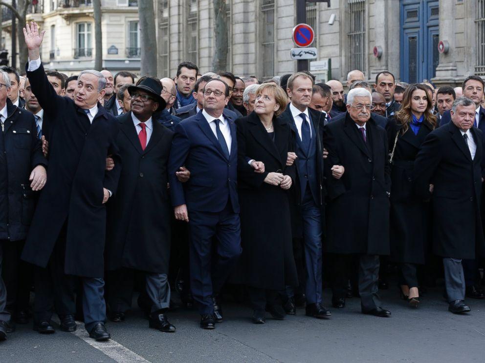 巴黎查理週刊哀悼遊行,不受西方政壇歡迎的內塔尼亞胡不請自來。 圖片來源:路透社