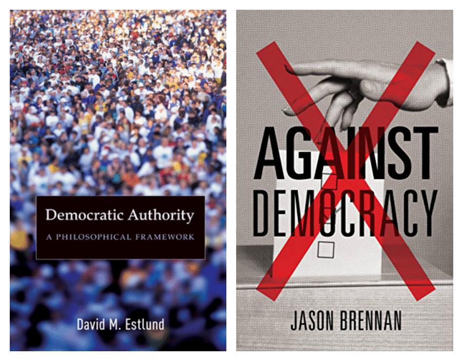 不論立場是擁護民主(左圖)抑或反對民主(右圖),民主在哲學和執行上不乏批評之處。