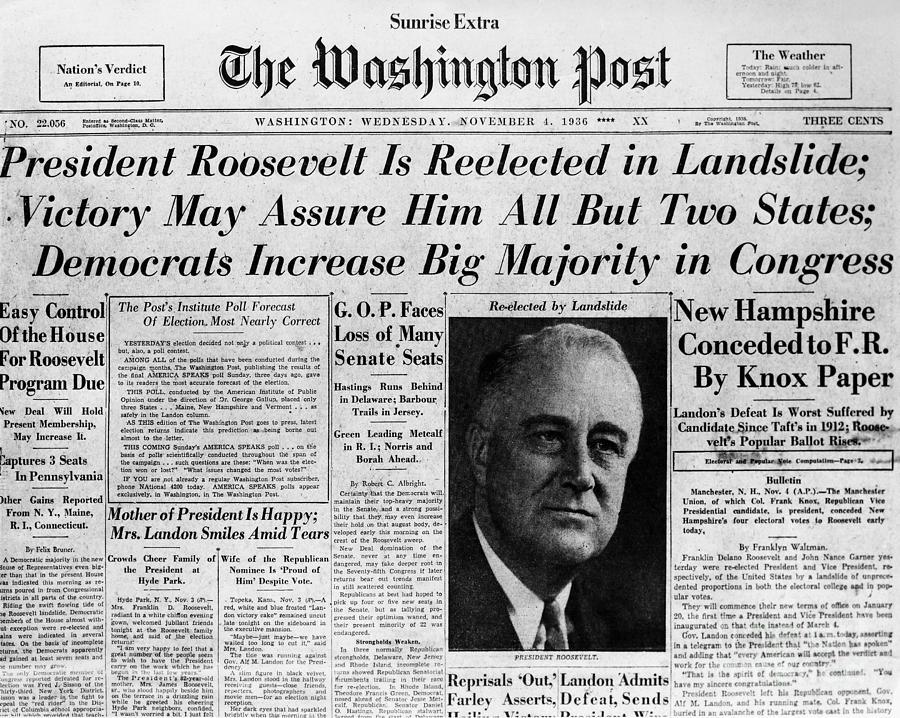 1936 年,一項具 230 萬受訪樣本的民調預告羅斯福將落選,結果恰恰相反,羅斯福幾乎全取所有州分。
