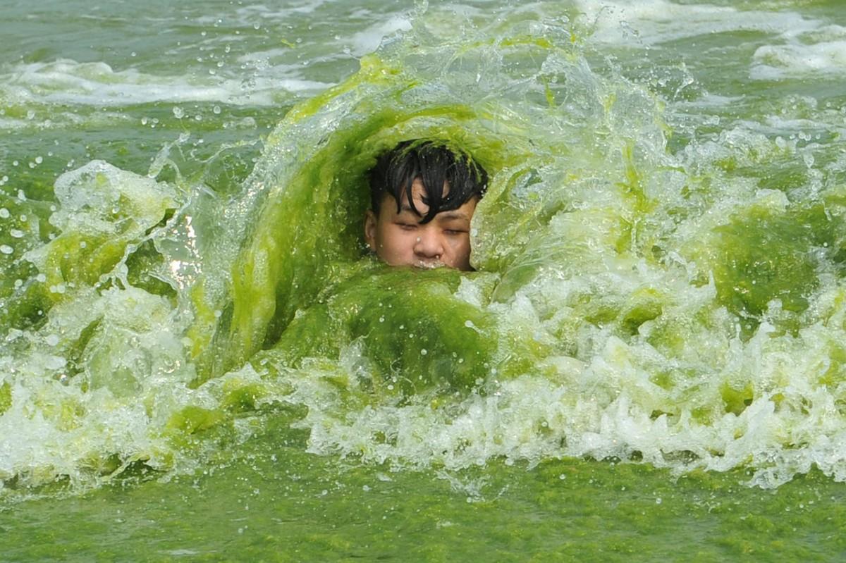 這位同學,又是否會因這條河而對海藻類有更大認知,成為一位科學家? 圖片來源:路透社