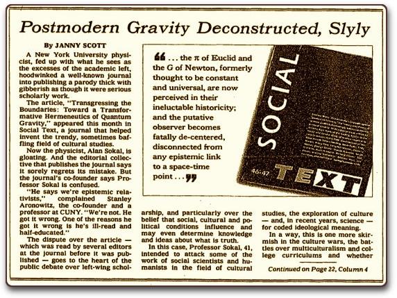 紐約時報 1996 年 5 月 18 日有關「索卡事件」的報道。 圖片來源:hoaxes.org