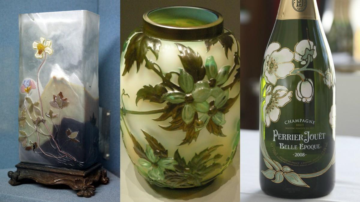 Emile Gallé 創作的雕刻水晶花瓶(左)及浮雕玻璃花瓶(中),與白銀蓮花的線條風格,同出一轍。
