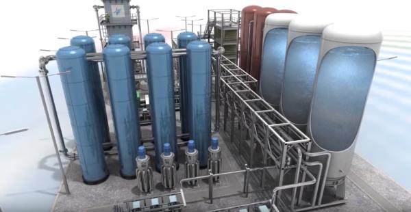 液化空氣,然後將之儲存在隔離容器(右)。  圖片來源:Highview Power