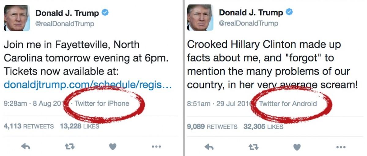 分辨杜林普真身的簡單方法:手機。 圖片來源:Business Insider