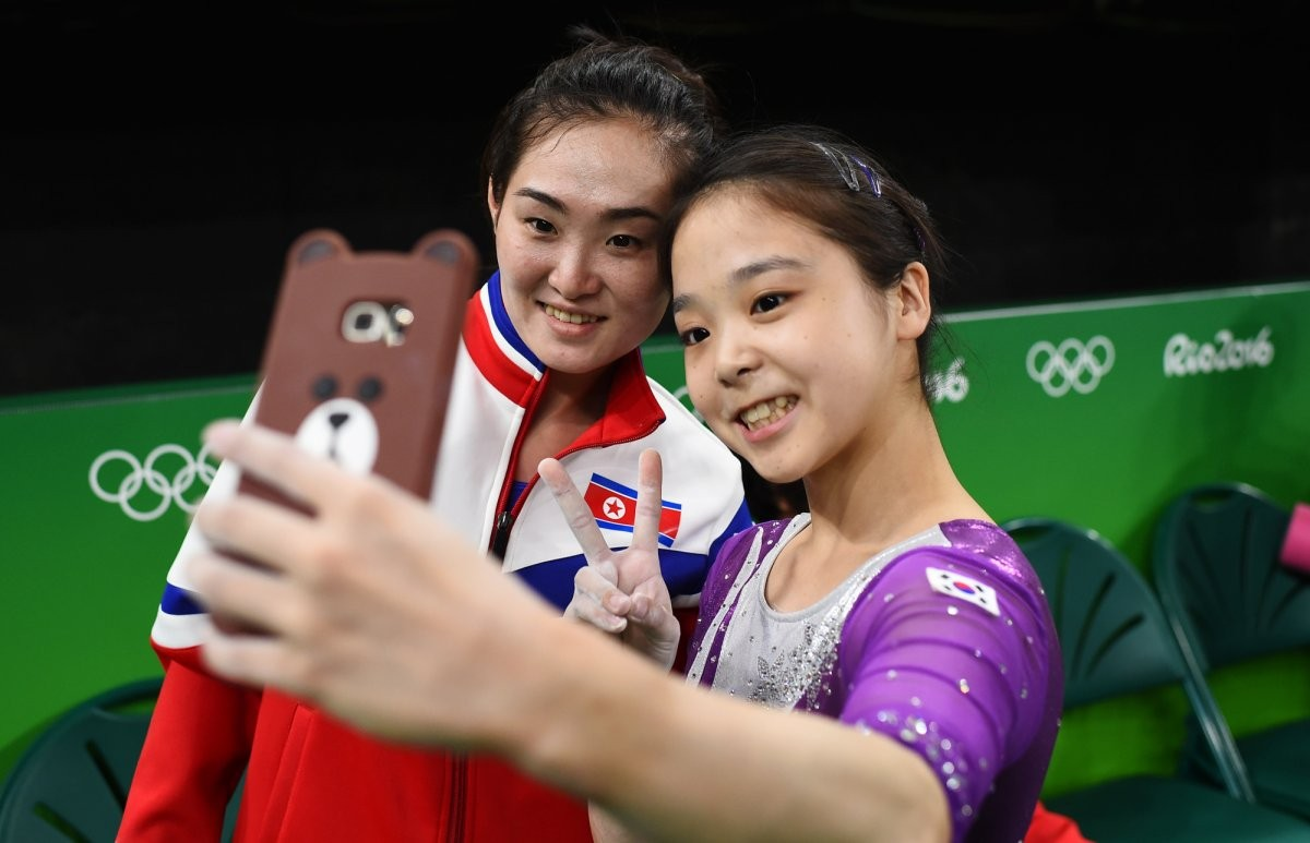 lee-eun-ju-of-south-korea-right-takes-a-selfie-with-hong-un-jong-of-north-korea-left-during-the-olympic-games