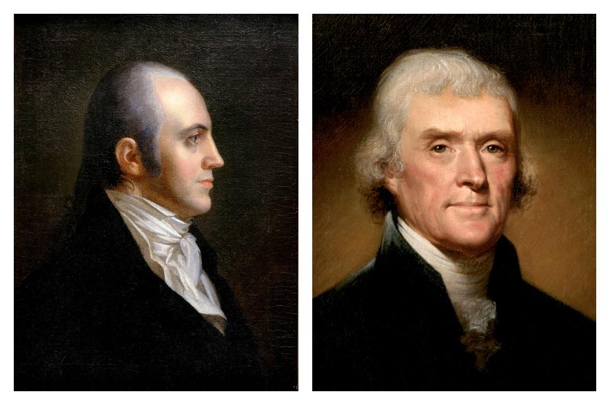 1800 年大選兩位候選人。左:伯爾(Aaron Burr);右:傑弗遜(Thomas Jefferson)。 圖片來源:維基百科