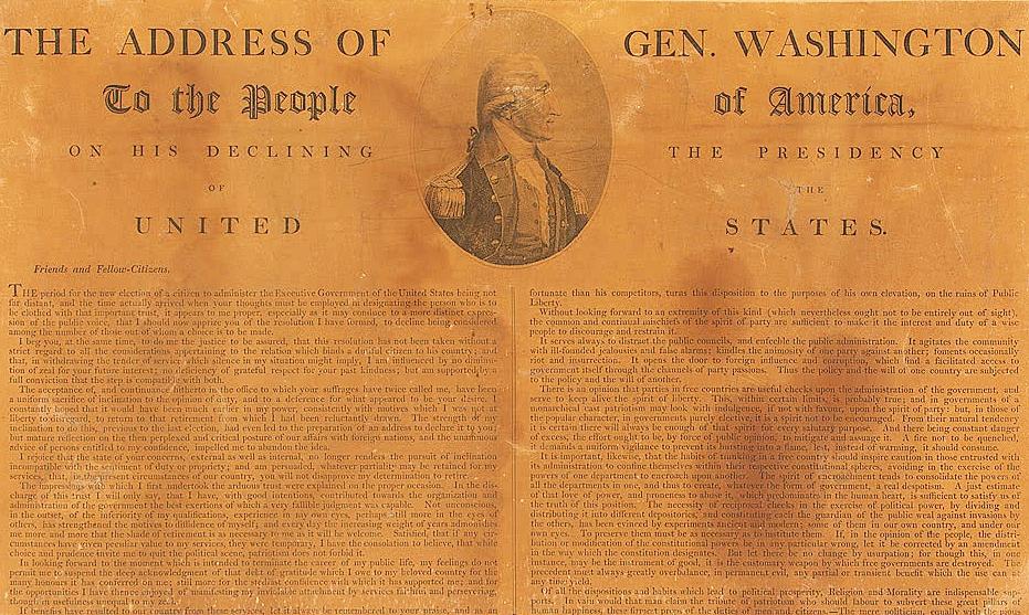 喬治華盛頓給美國人民的告別演說。圖片來源:Public Domain