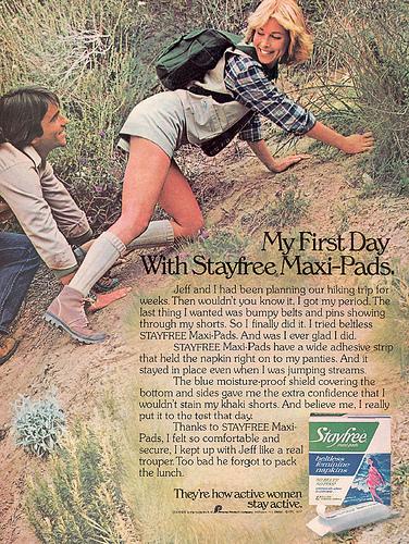 第一款無腰束衛生棉(belt-free pads)為 Stayfree 公司所生產。圖片來源:pinterest