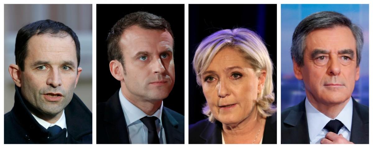 突圍而出的黑天鵝:法國四大總統參選人。 圖片來源:路透社