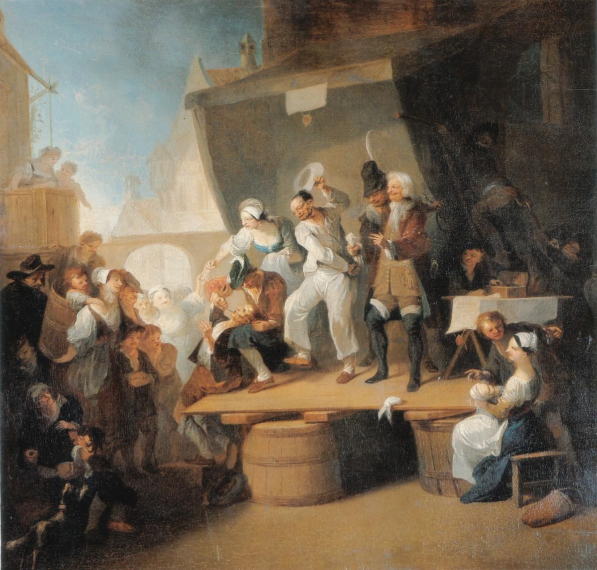 18 世紀理髮大夫為人拔牙。 圖片來源:維基百科