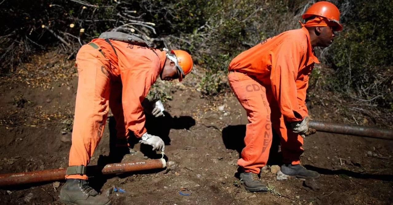 阿拉巴馬州的服刑囚犯正鋪設水管。 圖片來源:路透社