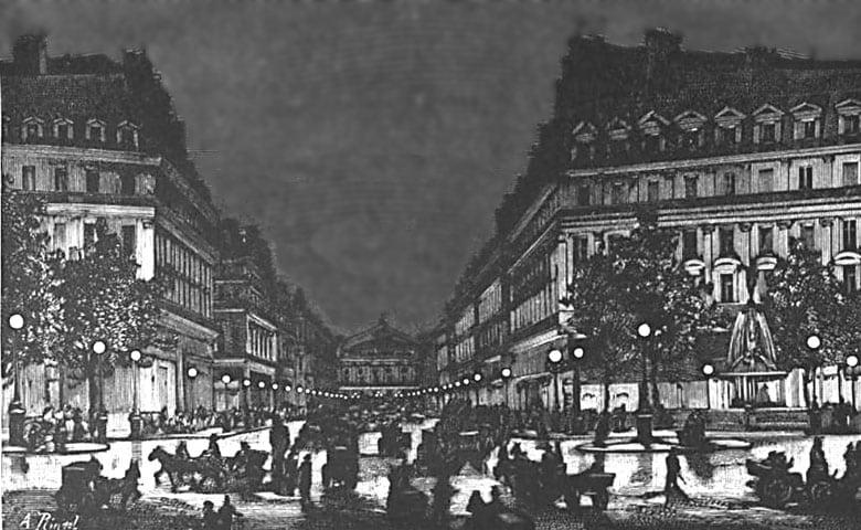 1878 年,巴黎世界博覽會的電燈。 圖片來源:維基百科