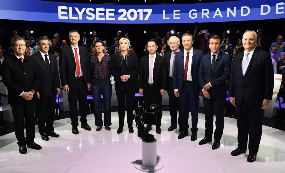 日前電視台史無前例邀請 11 位法國總統參選人同台辯論,梅朗雄表現被指最為突出。 圖片來源:路透社