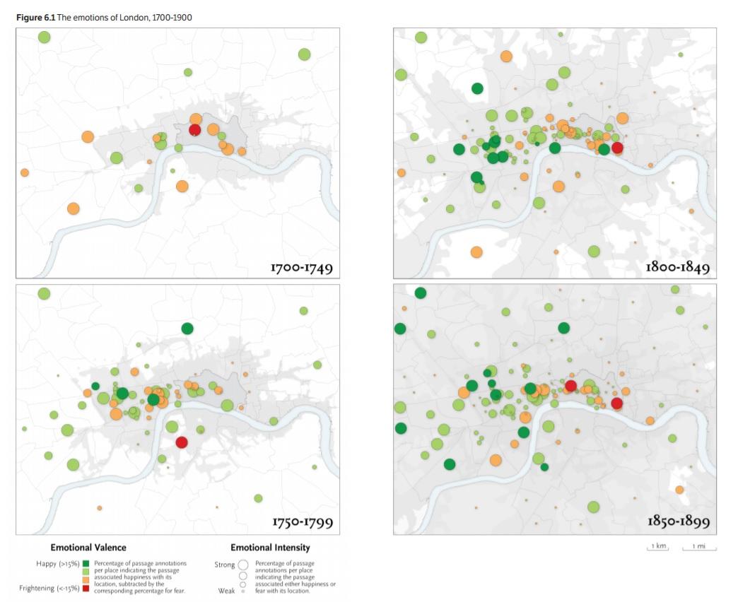 4 張圖分別展示了 4 個時期的倫敦文學情感。顏色圓點代表該地的文學情感,綠色為十分幸福,青色為幸福,橙色為恐懼,紅色為十分恐懼。