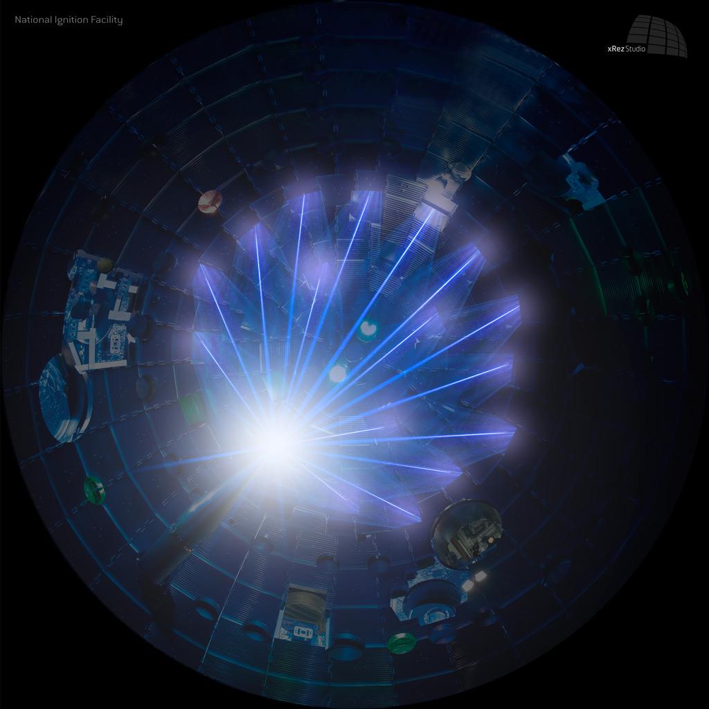 美國國家點燃實驗設施正試驗將激光聚焦一點以引發核聚變效應。 圖片來源:NIF