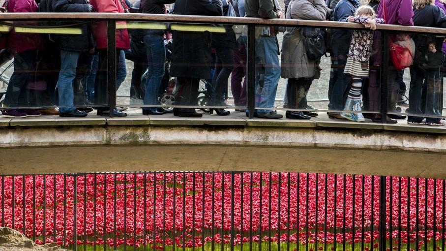 2014 年 11 月 08 日,人們在倫敦塔排隊觀賞紅色罌粟花的裝置藝術。該次陶瓷罌粟花的藝術裝置是為紀念第一次世界大戰爆發百週年。(圖片來源:Shutterstock)