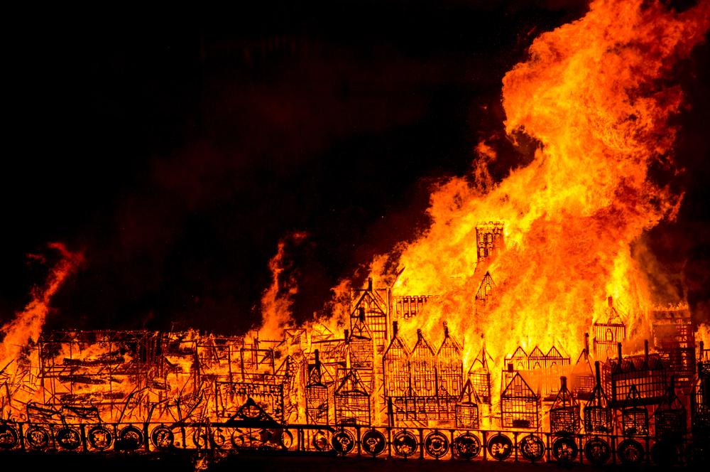 1666 年倫敦大火模擬現場。