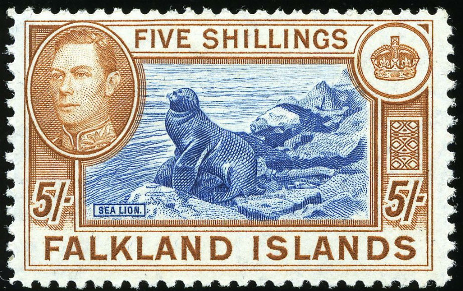 1937 年英屬福克蘭群島郵票設計。君主肖像為英王佐治六世,以鵝蛋型呈現,圖案為海獅。