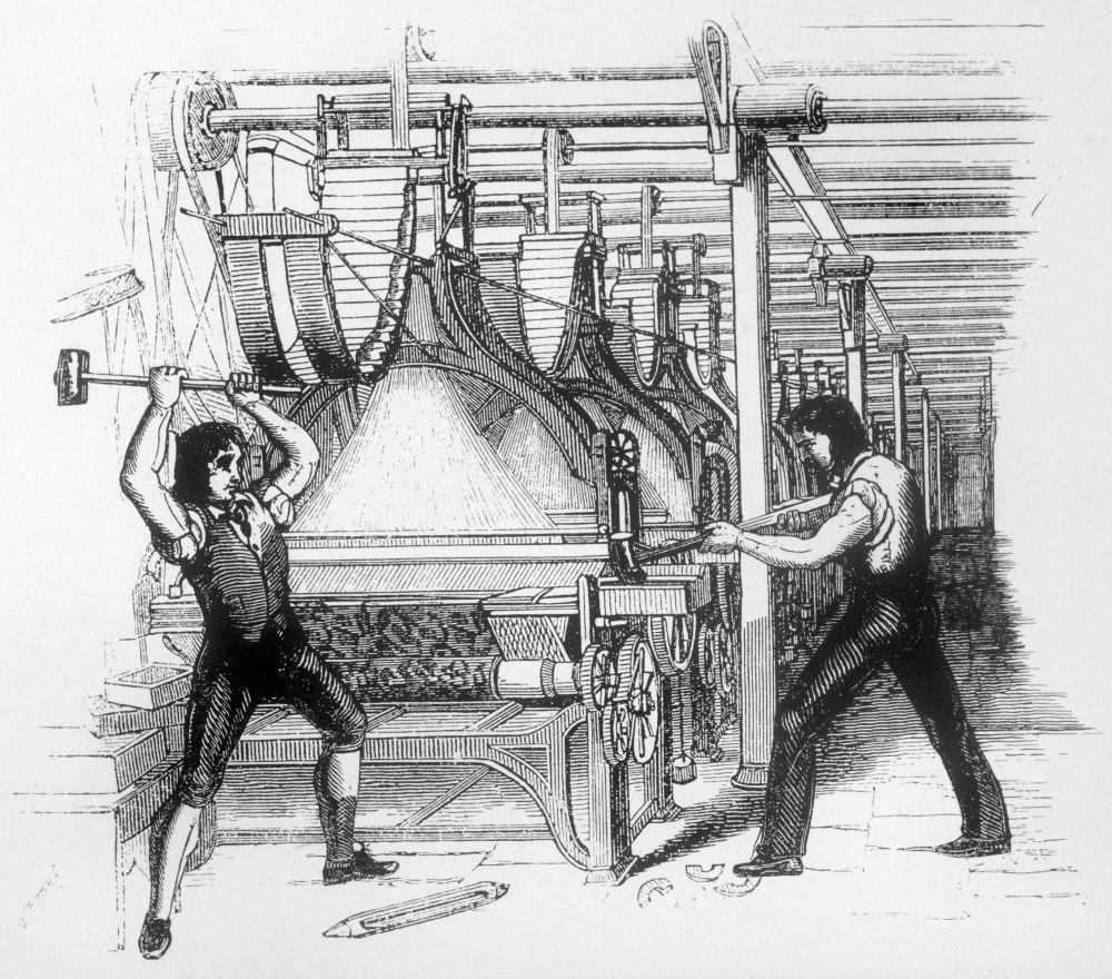 19 世紀初的盧德分子恐防紡織機將取代人手造成失業潮,發起破壞機械行動。 圖片來源:維基百科